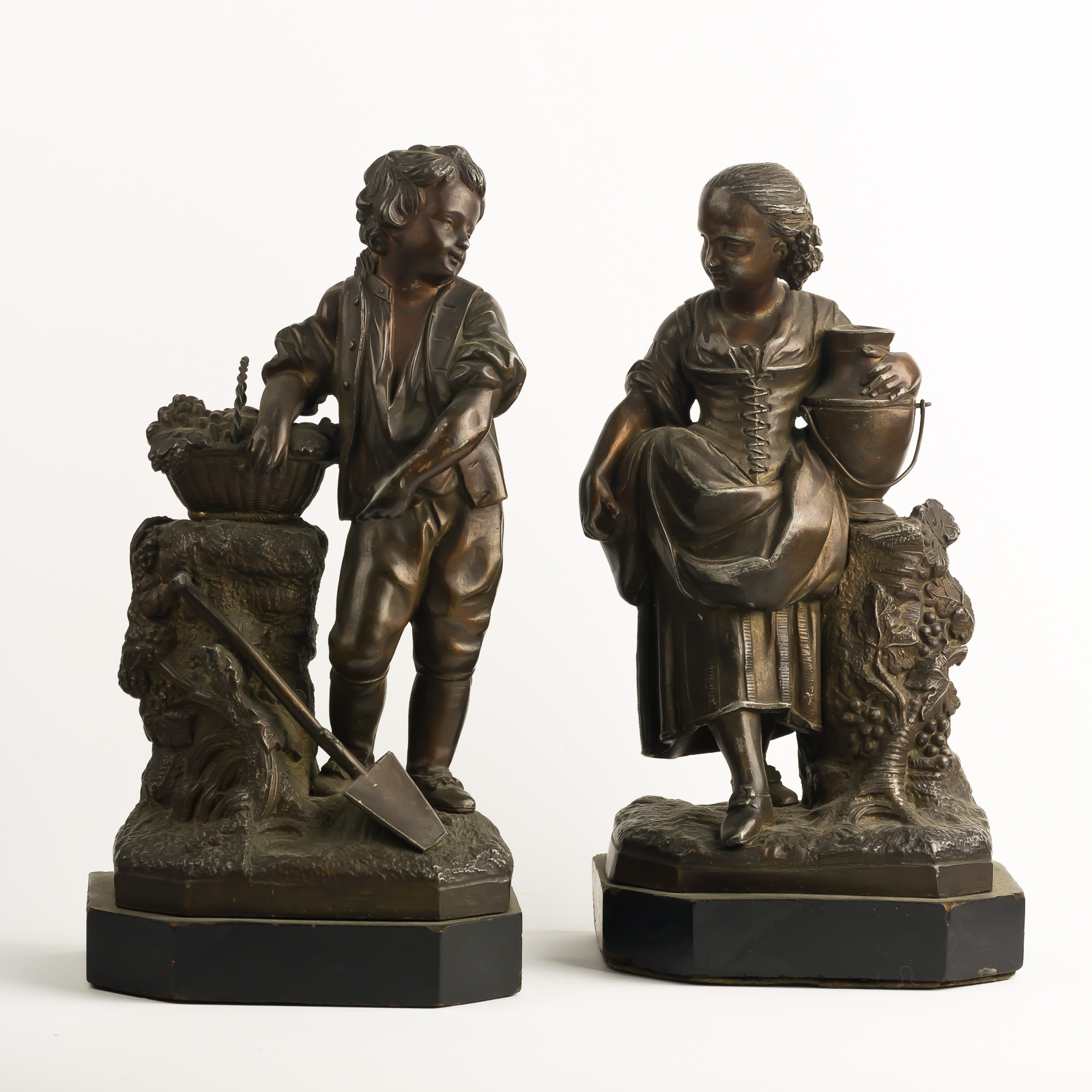 Pair Vict Boy Girl Statues-1